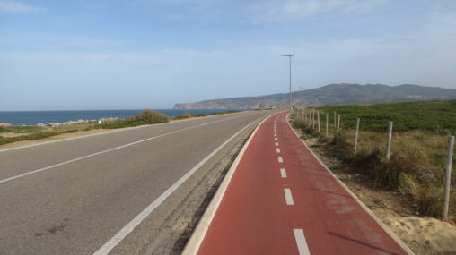 Biking trail along the coast from Cascais to Guincho