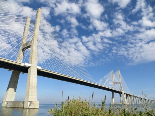 Closer look at Vasco da Gama Bridge in Lisbon